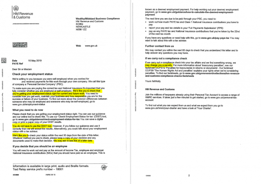 IR35 Nudge Letters From HMRC