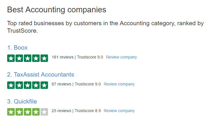 Trust Pilot accounting